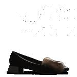 Fendi scarpe donna punta in pelle verniciata pelliccia visone