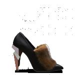Fendi scarpe donna tronchetto a punta in nappa pelliccia