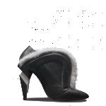 Fendi scarpe donna tronchetto scolpito nappa nera pelliccia