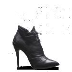 Fendi scarpe donna tronchetto stringato a punta in nappa nera