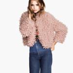 H&M donna giacca pelliccia ecologica rosa cipria