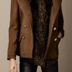 burberry donna pea coat finitura pelliccia