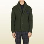 gucci maglie uomo cardigan collo scialle lana verde