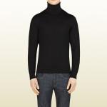 gucci maglie uomo collo alto lana leggera nera