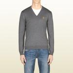 gucci maglie uomo v lana merino grigia
