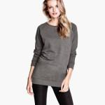 maglie donna oversize in tessuto felpato grigio