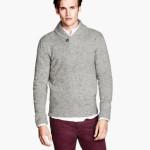 maglie uomo pullover in maglia collo a scialle e bottone grigio
