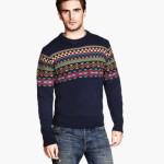 maglie uomo pullover jacquard misto lana blu scuro