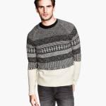 maglie uomo pullover jacquard misto lana grigio