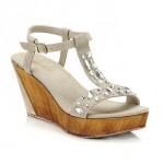 scarpe donna keys sandali zeppa camoscio